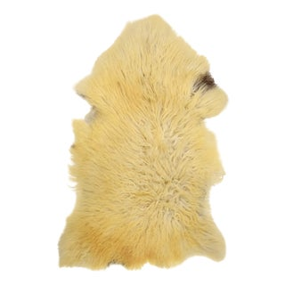 "Long Soft Beige Wool Sheepskin Rug, Genuine Handmade Supple Sheepskin Pelt- 2'7"" X 4'2"""
