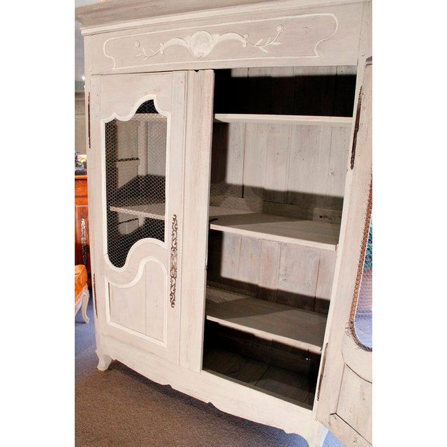 French Provincial Louis XV Style Grey Painted Armoire - Image 9 of 10