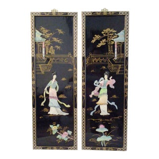 Mid-Century Japanese Mother-Of-Pearl Panels - A Pair