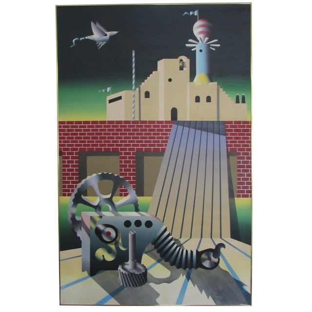 Industrial Age Surrealist Painting - Image 1 of 6