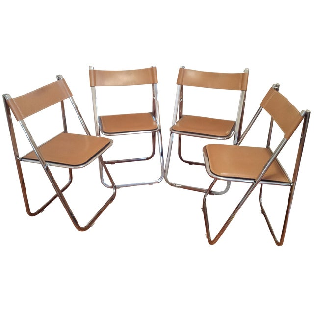 Arrben Italian Leather & Chrome Chairs - Set of 4 - Image 1 of 10