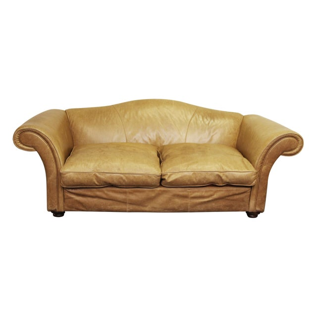 Large Vintage French Camelback Leather Couch - Image 9 of 9