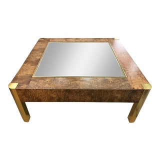 Century Furniture, Milo Baughman Style, Burl, Brass & Glass Vintage Coffee Table