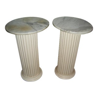 1940s Marble & Wood Pedestal Columns - Pair