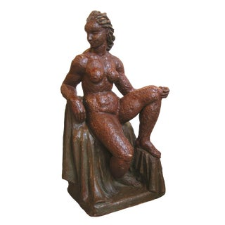 French 1940's Terra Cotta Sculpture of a Woman