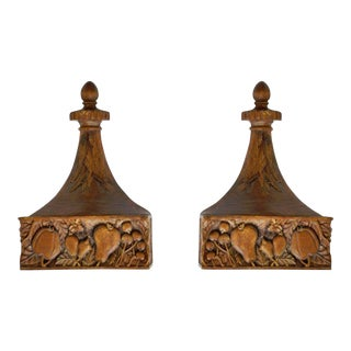 Hand Carved Solid Wood Fruit Harvest Decorative Wall Brackets Shelves - a Pair