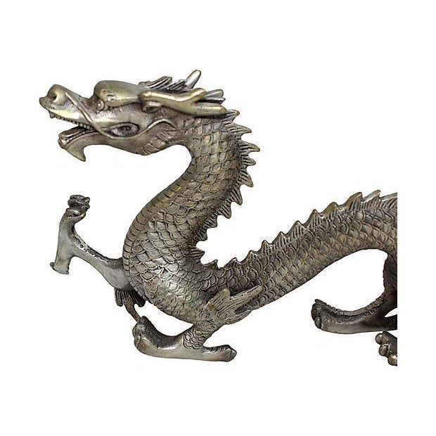Silver Mid Century Metal Dragon Statue - Image 5 of 7