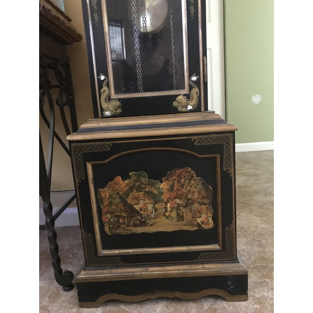 Asian Black Grandfather Clock Hand Painted With Pearl Inlay - Image 4 of 11