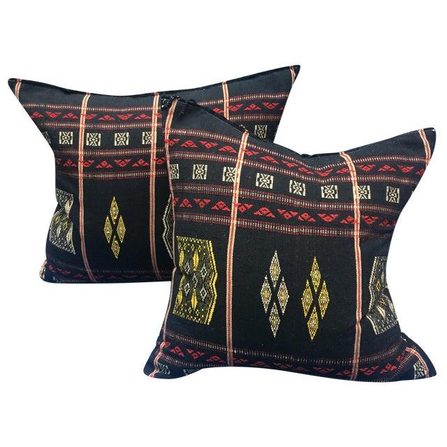 Burmese Chin Tribal Textile Pillows - A Pair - Image 1 of 7