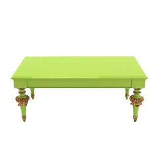Salad Green Lacquer Gold Hollywood Regency Rectangular Coffee Table
