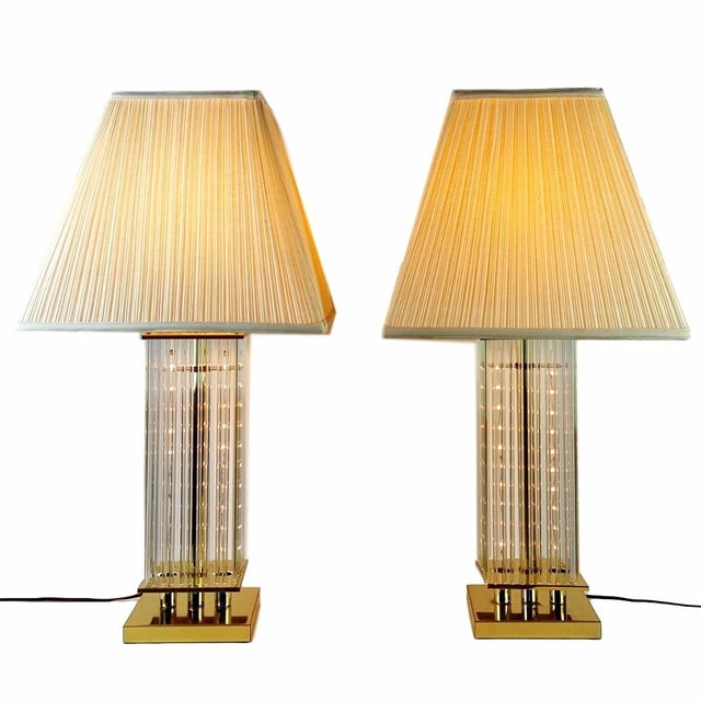 Sciolari-Style Glass Rod Table Lamps - A Pair - Image 4 of 10