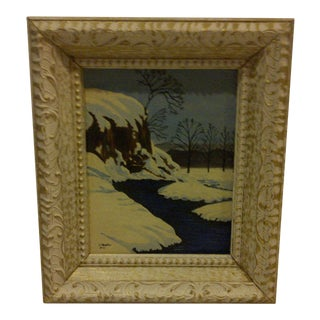 "Traditional Original Painting ""Snowy Stream"" by F. Shaffer 1961"
