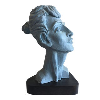 Modern Female Bust on Wood Base