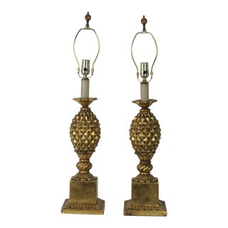Italian Gold-Leaf Pineapple Table Lamp - A Pair