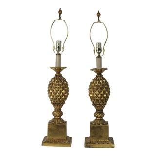 Italian Gold-Leaf Pineapple Table Lamp - A Pair