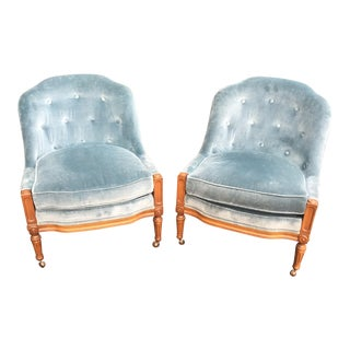 Woodmark Originals Blue Velvet Slipper Chairs - A Pair