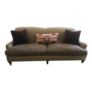 Custom Linen Covered Sofa With Leopard Print Seat Cushions
