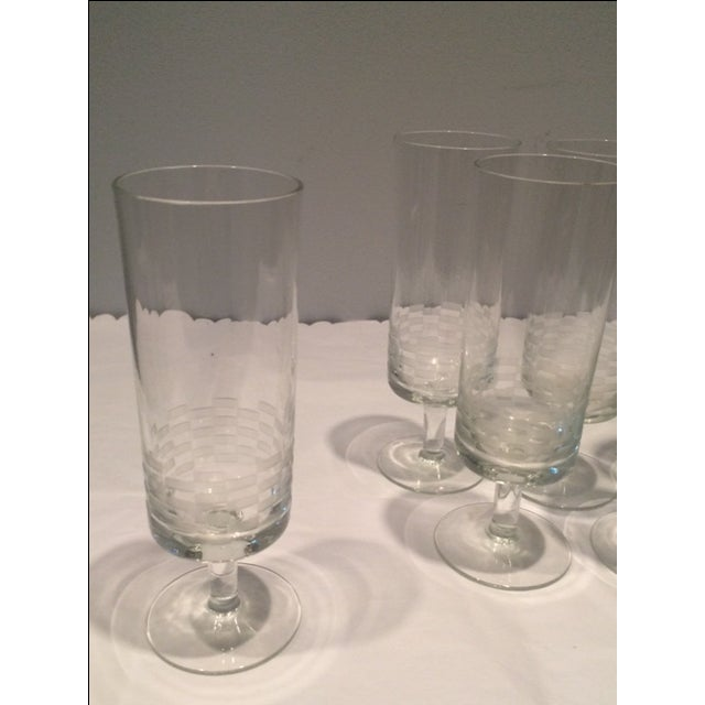 MCM Geometric Etched Champagne Flute Set - 6 - Image 3 of 8