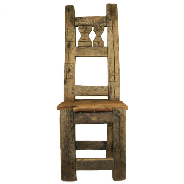 Image of Antique Primitive Hand-Carved Chair Low Chair
