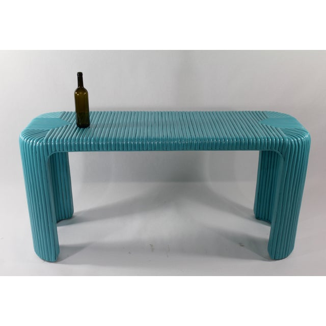 Bamboo Console Table With Aquamarine Lacquer - Image 5 of 5