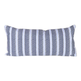 Custom Navy and Ivory Chevron Lumbar Pillow