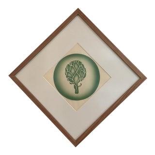Vintage Artichoke Block Print Signed by C. Tansley