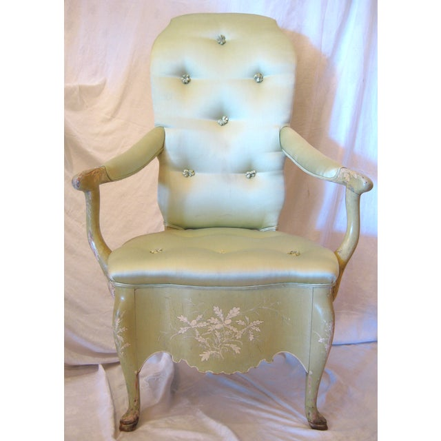 Pale Green Painted Victorian Armchair - Image 2 of 7