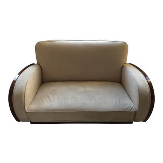 Art Deco Cream Suede & Walnut 2 Seater Sofa