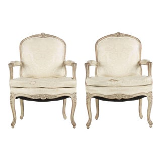 French Louis XV Distressed White Painted Arm Chairs - Pair