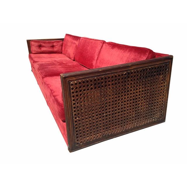 Image of Ruby Red Velvet Cane-Side Sofa