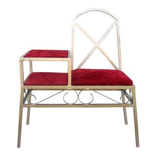 Art Deco Hollywood Regency Red Velvet Gossip Chair