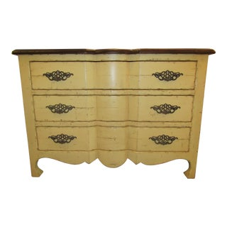 Century Furniture Yellow Paint Rustic Chest of Drawers