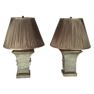 Green Tole Lamps with Silk Shades - A Pair
