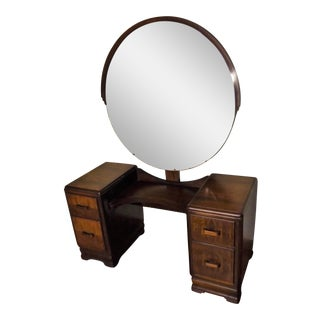 Mid-Century Curly Maple Vanity With Round Mirror