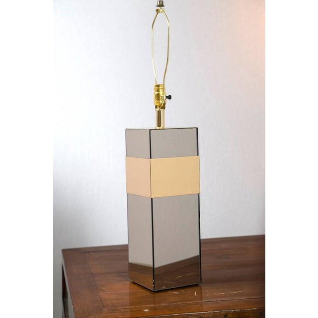 Image of Paul Evans Style Glass and Brass Lamp