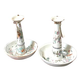 Chinese Famille Rose Ceramic Incense Burners- A Pair