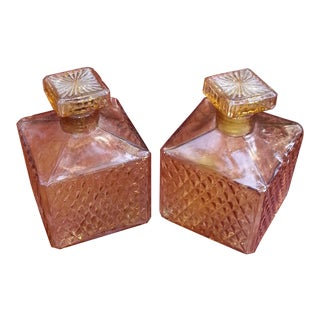Amber Glass Whiskey Decanters - A Pair