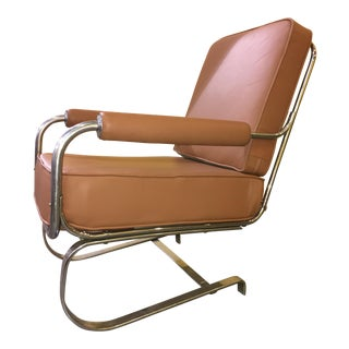 KEM Weber for Lloyd Manufacturing Tubular Chrome Springer Lounge Chair