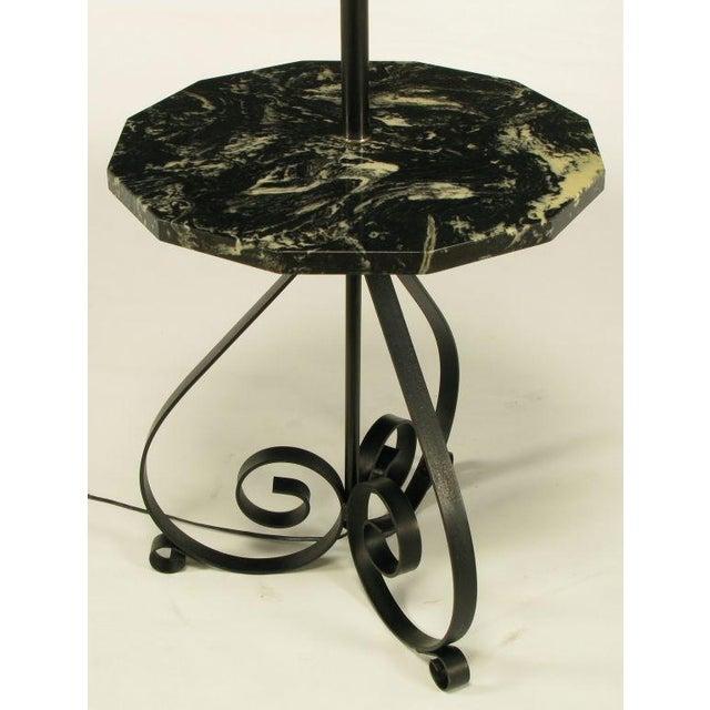 Black Dodecagon Marble & Iron Moorish Floor Lamp - Image 4 of 6