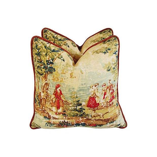 Vintage Custom Renaissance Toile Pillows - A Pair - Image 3 of 7