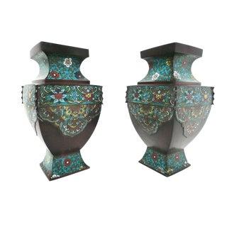 Antique Asian Cloisonné & Bronze Urns - a Pair
