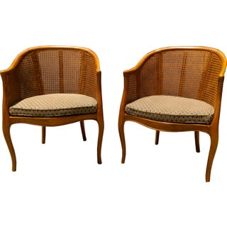 Vintage Double Cane Barrel Chairs - Pair