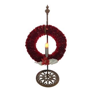 1960's Holiday Wreath With Iron Stand