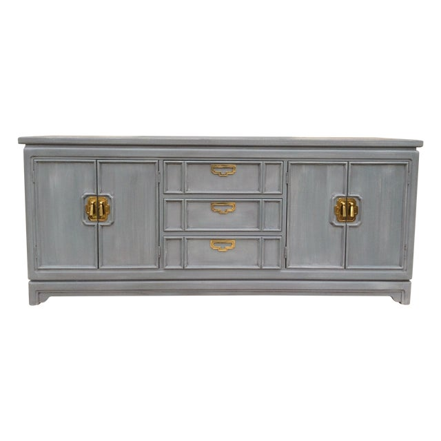 Vintage Thomasville Grey Distressed Asian Credenza - Image 1 of 8