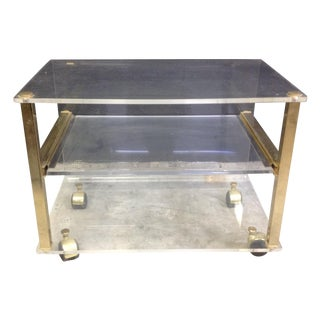 Lucite and Brass Side Table