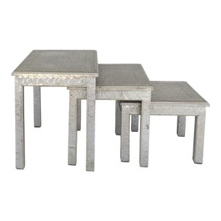 Moroccan Metal-clad Nesting Tables- Set of 3