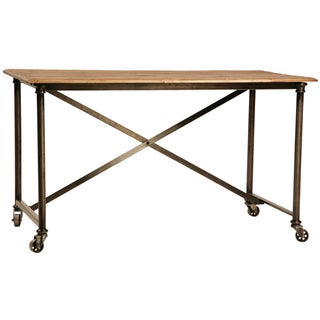 Reclaimed Wood & Steel Desk on Casters