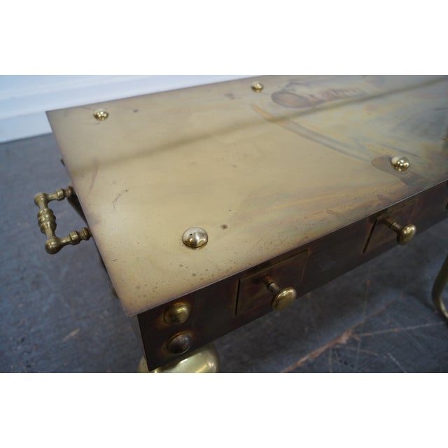 Vintage English Georgian Style Brass Footman Coffee Table