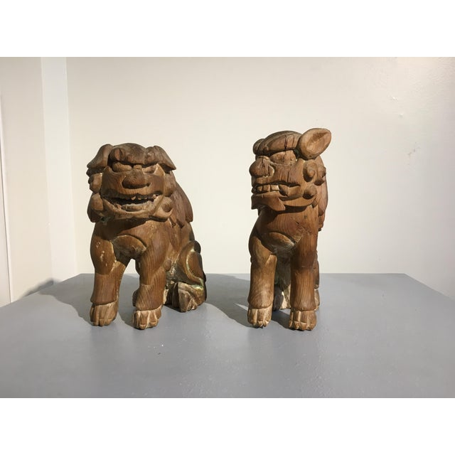 Pair Japanese Edo Period Carved Wood Komainu, early 19th century - Image 4 of 11