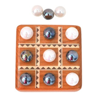 Antique Vintage Miniature Tic Tac Toe Wood & Beads Game Board Travel